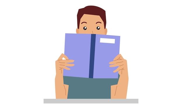 Man verstopt achter boek