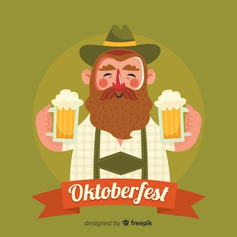 Man viert oktoberfest met platte ontwerp