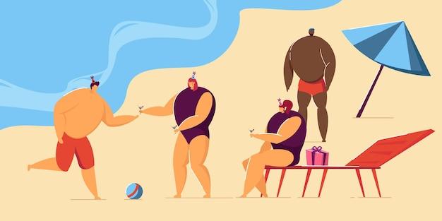 Man viert verjaardag met vrienden aan de kust. mannelijke en vrouwelijke personages in feestmutsen die cocktails drinken platte vectorillustratie. strandfeest, verjaardagsconcept voor banner, website-ontwerp