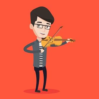 Man viool illustratie spelen.