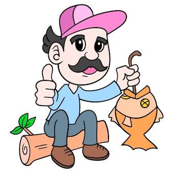 Man vissen krijgen vis, doodle tekenen kawaii. illustratie kunst
