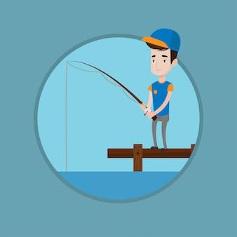 Man vissen op steiger vectorillustratie.