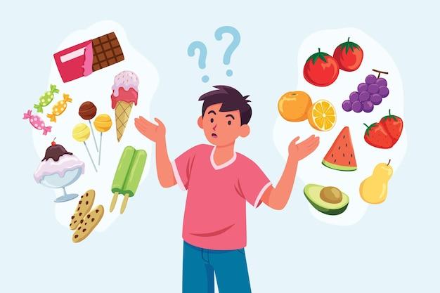 Man voedsel concept kiezen