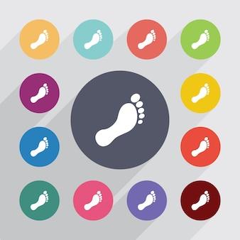 Man voetafdruk, plat pictogrammen instellen. ronde kleurrijke knopen. vector