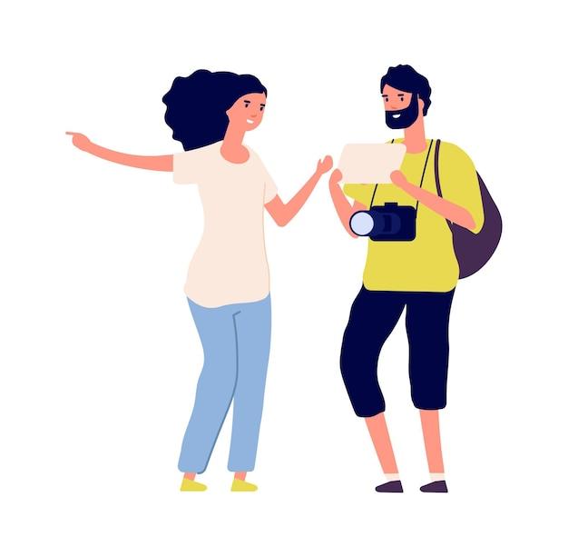 Man vraag weg. toerist en jonge vrouw. geïsoleerde reizigersfotograaf met rugzak. platte meisje en jongen praten