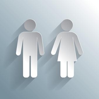 Man vrouw afgetekend cijfers wc icon
