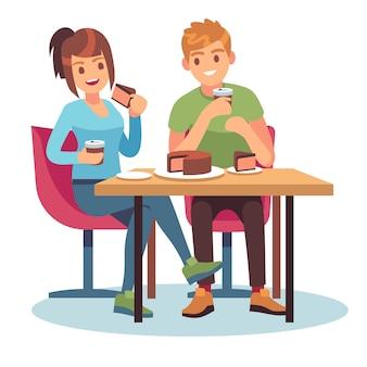 Man vrouw café. paar romantische date diner restaurant vergadering vrienden tafel eten drinken praten relatie