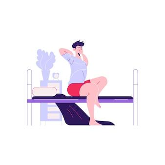 Man vrouw dagelijkse routine samenstelling met karakter van man wakker op bed