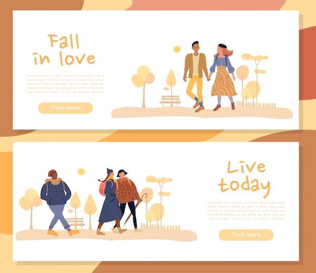 Man vrouw karakter geniet van herfst header banner set