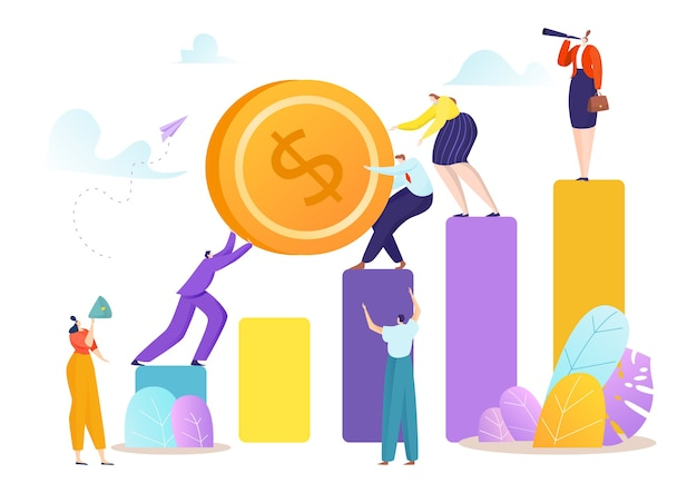 Man vrouw push munt op professionele werk mensen team concept