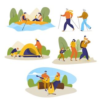 Man, vrouwen, kinderen die wandelingsreis in openlucht op de illustratie van de wandelingstrekking op wit wordt geïsoleerd.