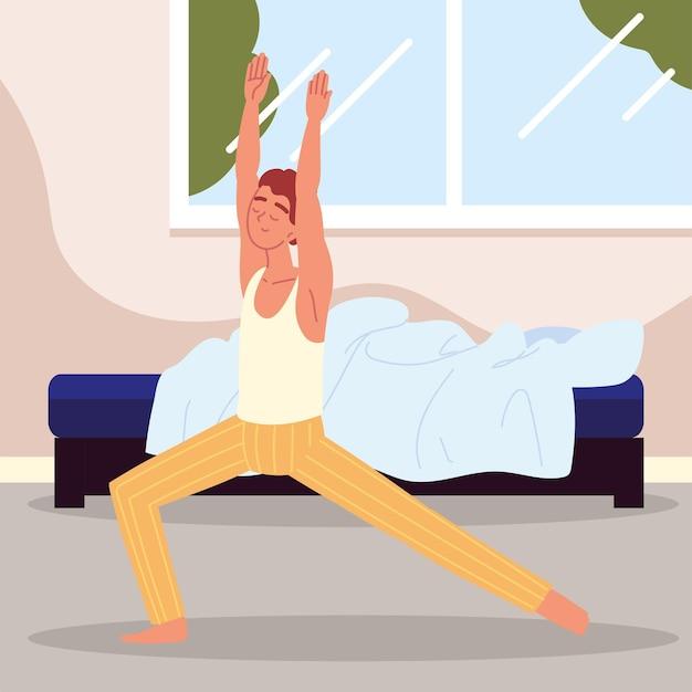 Man wakker en stretching