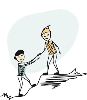 Man wandelen helpen elkaar, helpen teamwerk. cartoon schets concept geïsoleerde vectorillustratie.