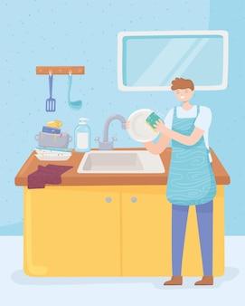 Man wast in de keuken Premium Vector