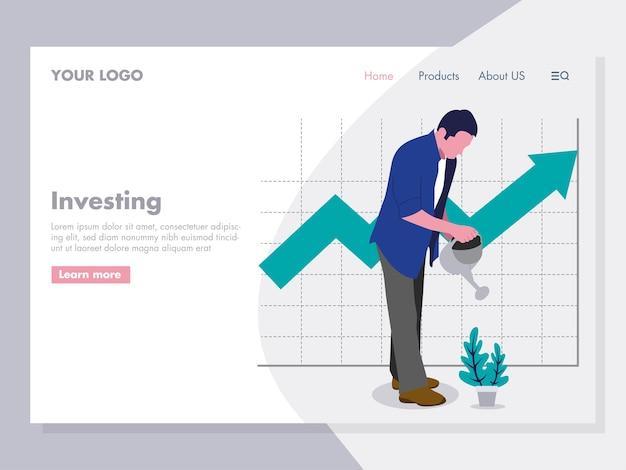 Man watering plant investeren illustratie voor de landing page