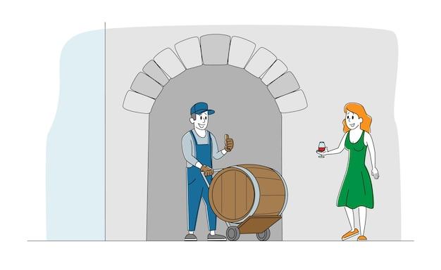 Man werknemer en vrouw teken staan op houten vat