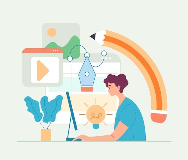 Man werknemer freelancer digitale kunstenaar platte cartoon afbeelding