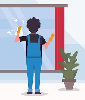 Man werknemer housekepping schoonmaak glas