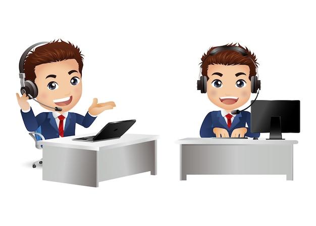 Man werknemer in klantenservice