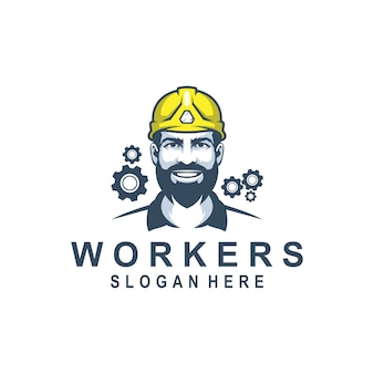 Man werknemer logo ontwerp premie voor bullding