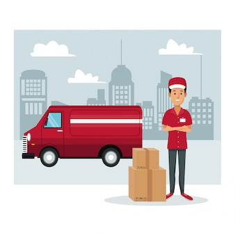 Man werknemer met pakketten en vrachtwagen snelle levering