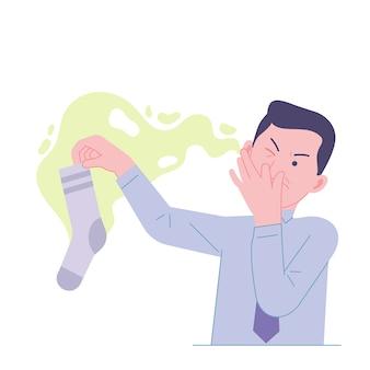 Man werknemer met stinkende stinkende sokken