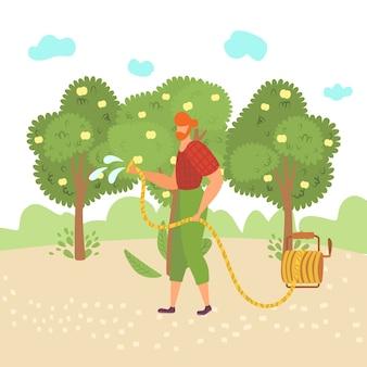 Man werkt in de tuin, gebruikt gereedschap, gaat tuinieren, boom water geven, werkt tuinman buitenshuis, in illustratie. eco-aanplant, biologische planten, groene achtergrond, groeiseizoen.