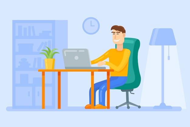 Man werkt met laptop op tafel. freelancer bij interieur.