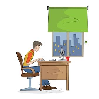 Man werkt op de computer. illustratie.