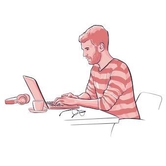 Man werkt op laptop met bril en koptelefoon en koffiekopje