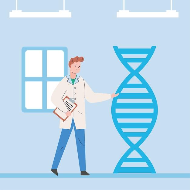 Man wetenschappelijk met dna-molecuul onderzoeksvaccin