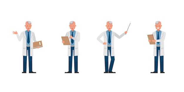 Man wetenschapper karakter. presentatie in verschillende acties.