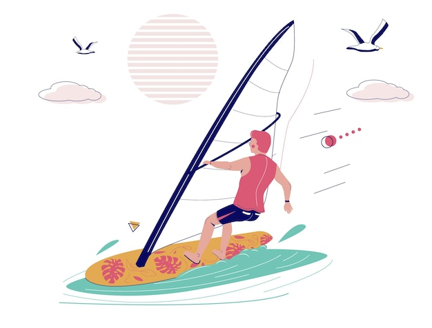 Man windsurfer rijden windsurfplank met zeil, platte vectorillustratie. windsurfen, extreme watersporten. zomer strandactiviteiten.
