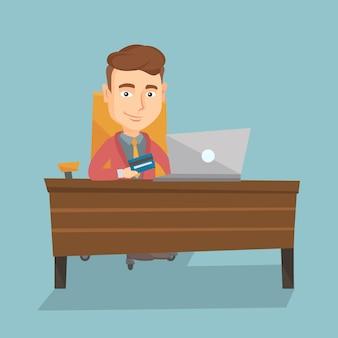 Man winkelen online vectorillustratie.