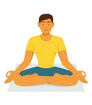 Man workout door yoga meditatie thuis.