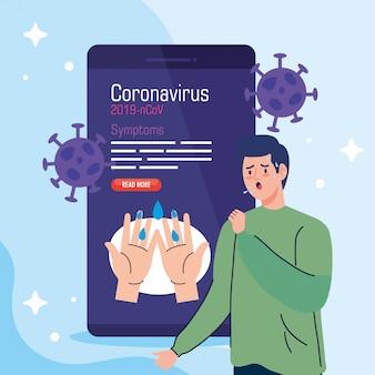 Man ziek in smartphone met covid19-deeltjes