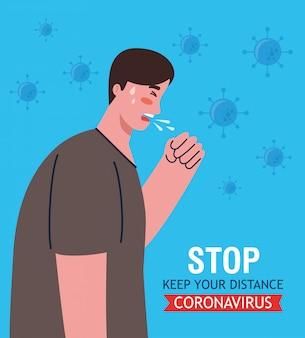 Man ziekte hoesten, symptoom coronavirus, gezondheidsprobleem, coronavirus covid-19, man ziek voelen, hoesten