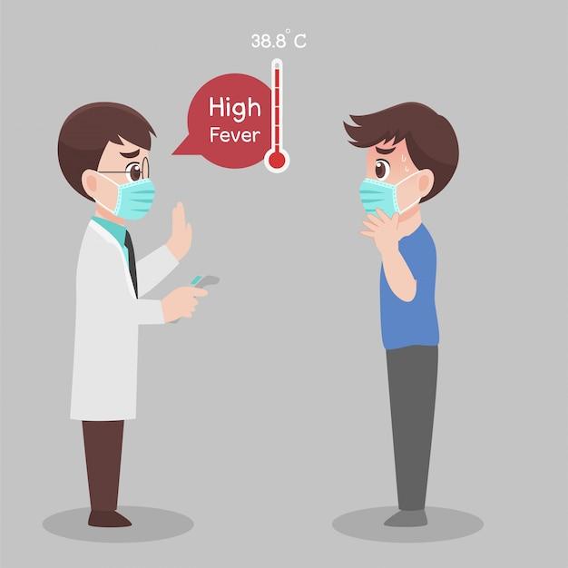 Man ziet dokter voor controle zelf, temperatuur voor corona virusscanning, hij is besmet, resultaat is hoge koorts