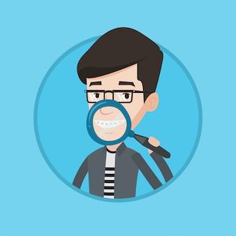 Man zijn tanden poetsen vectorillustratie.