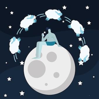 Man zit in maan tellen schapen die lijden aan slapeloosheid characterdesign vector illustratie