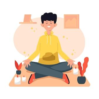 Man zit in yoga-positie en mediteren Premium Vector