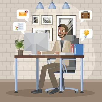Man zit op de stoel en werkt op de computer aan het bureau op kantoor. ondernemer of manager in pak op zijn werkplek. illustratie