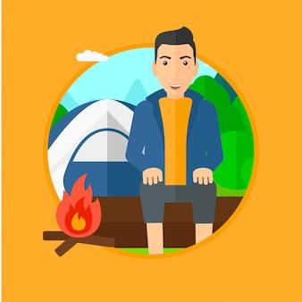 Man zit op log in de camping.