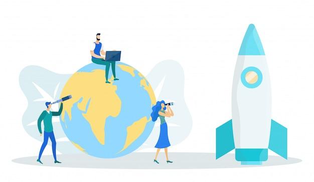 Man zit op wereldbol met laptop, rocket startup