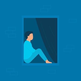 Man zit thuis verveeld en kijkt 's avonds of' s nachts uit het raam. pauze bij probleem. eenzaam jong mannetje dat thuis wordt geïsoleerd. blauwe illustratie