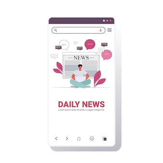 Man zittend lotus houding lezen online krant dagelijks nieuws op laptop pers massamedia concept smartphone scherm mobiele app kopie ruimte vectorillustratie