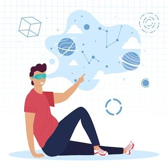 Man zittend met behulp van virtual reality-masker en universum pictogrammen afbeelding ontwerp