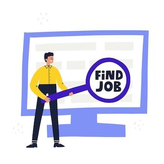 Man zoekt nieuwe baan op een computer na ontslag. hand getekend vectorillustratie. vind baanconcept.