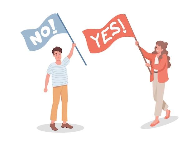 Man zonder vlag en vrouw met ja-vlag vector