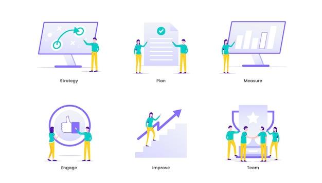 Management illustratie. bedrijfsbeheer en bedrijfsstrategie